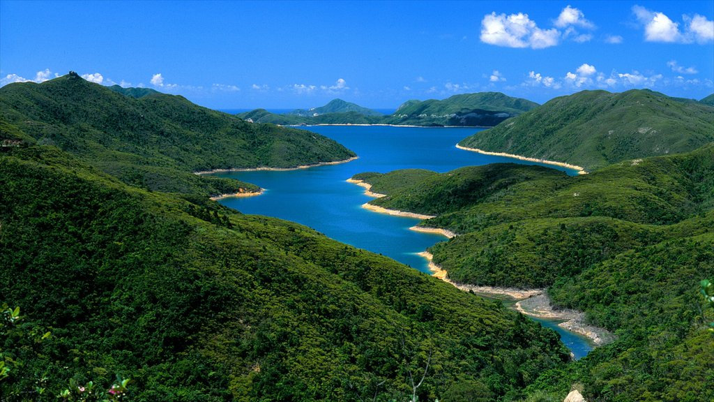 Sai Kung showing tranquil scenes, mountains and general coastal views