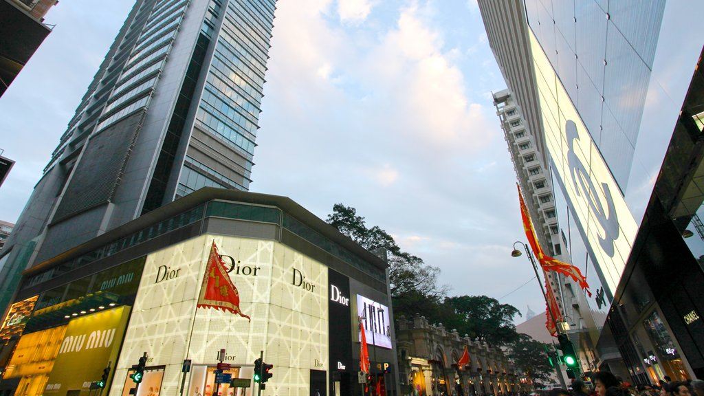 Tsim Sha Tsui which includes central business district, a city and signage