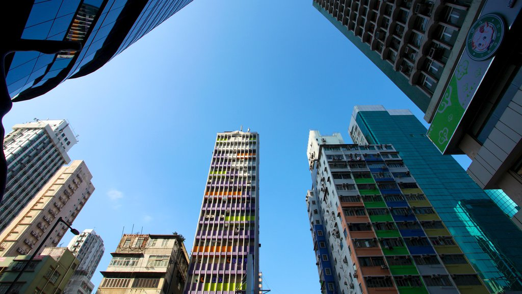 Mong Kok which includes a high rise building and a city