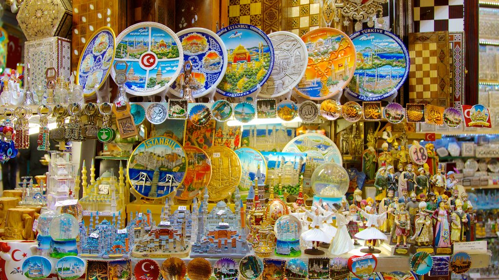 Grand Bazaar featuring markets and interior views