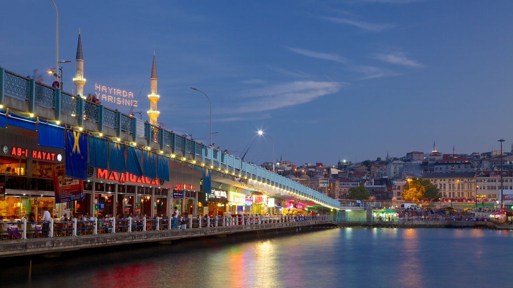 Galata Bridge which includes a river or creek, a bridge and night scenes