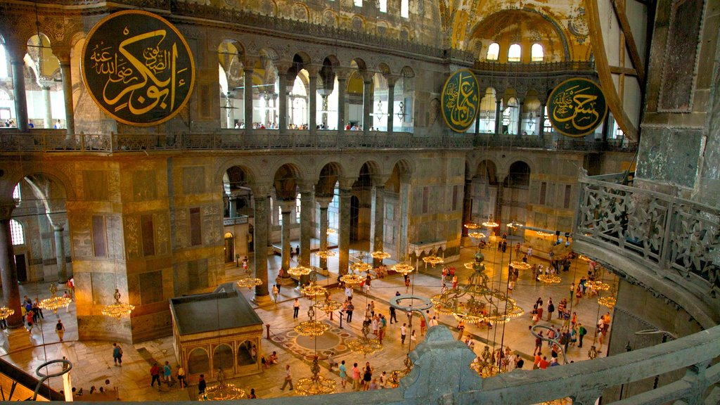 Hagia Sophia featuring a church or cathedral, religious elements and heritage architecture