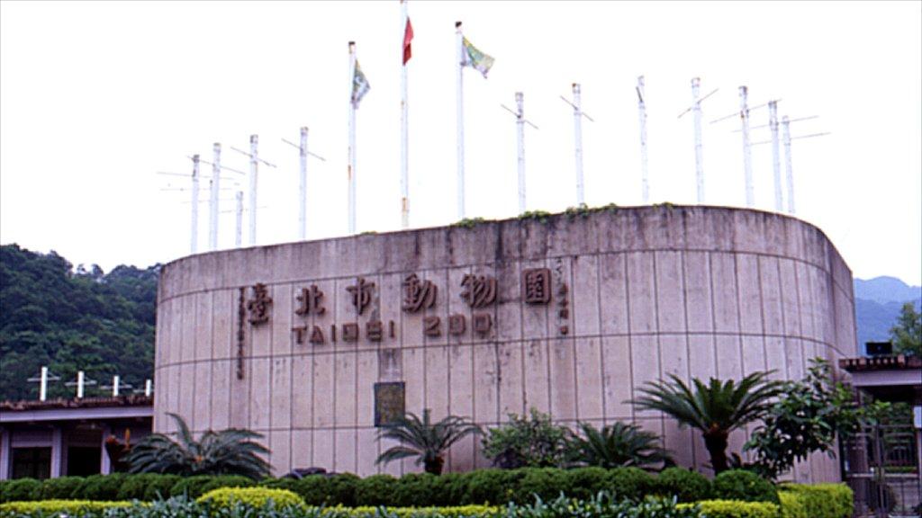 Zoo de Taipei ofreciendo señalización y animales del zoológico