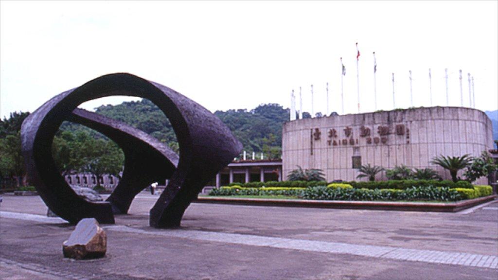 Zoo de Taipei ofreciendo señalización, animales del zoológico y arte al aire libre