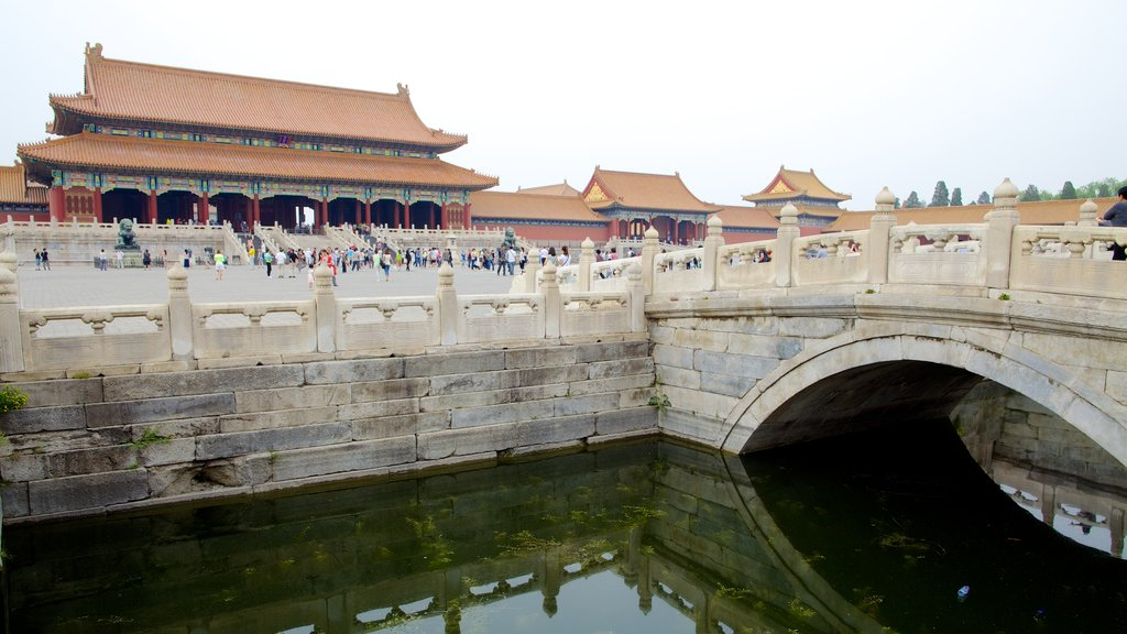 Forbidden City showing a castle, a bridge and a square or plaza