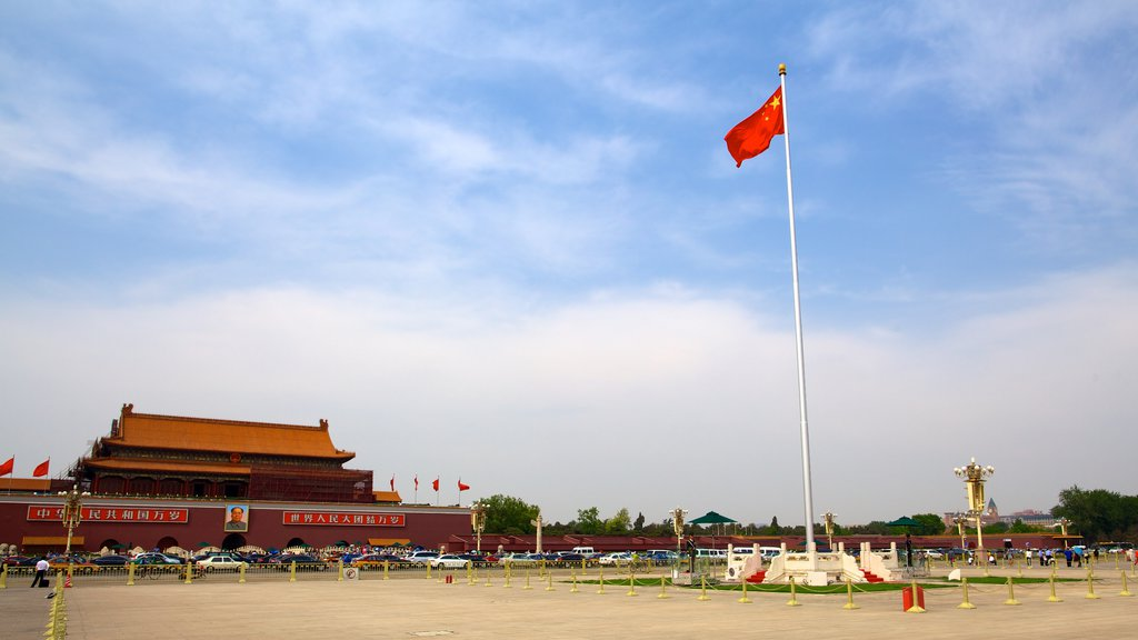 Tiananmen Square featuring chateau or palace and a square or plaza