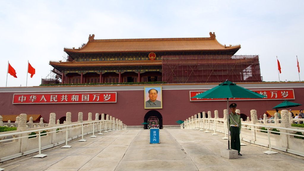 Tiananmen Square featuring signage, chateau or palace and heritage architecture