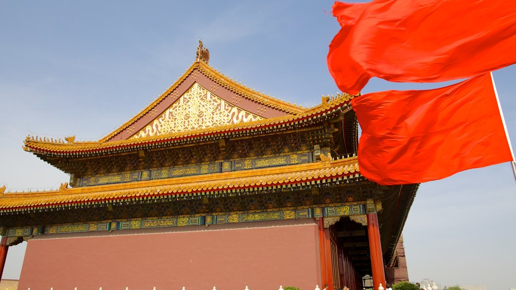 Tiananmen Square featuring a castle and heritage architecture
