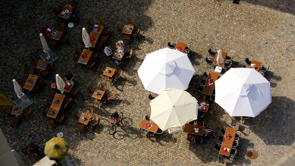 Lake Constance Promenade showing outdoor eating as well as a small group of people