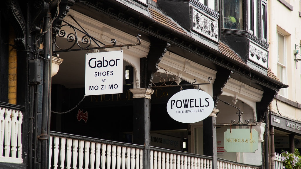 The Rows of Chester featuring signage