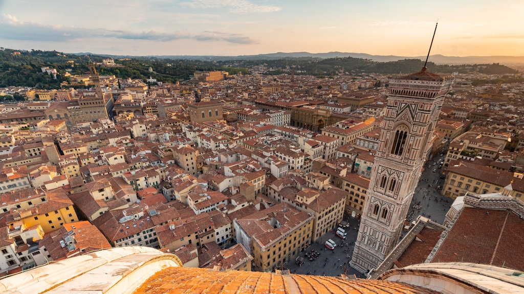 Giotto\'s Campanile featuring a sunset, a city and landscape views