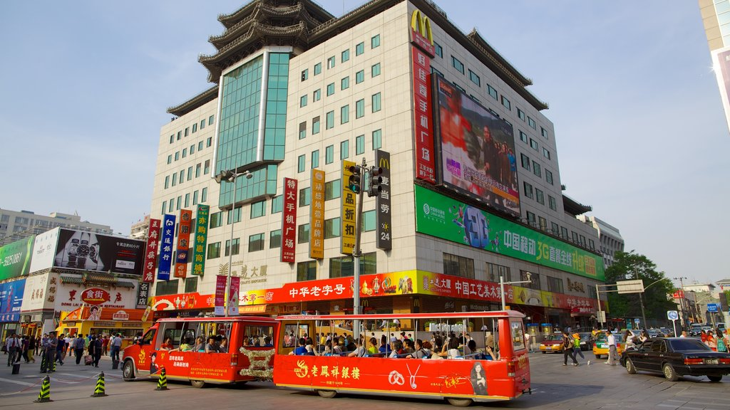 Wangfujing Street featuring central business district, a city and street scenes