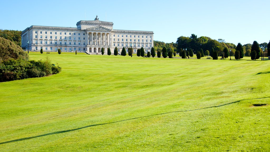Stormont Parliament Buildings featuring an administrative buidling, a park and heritage architecture