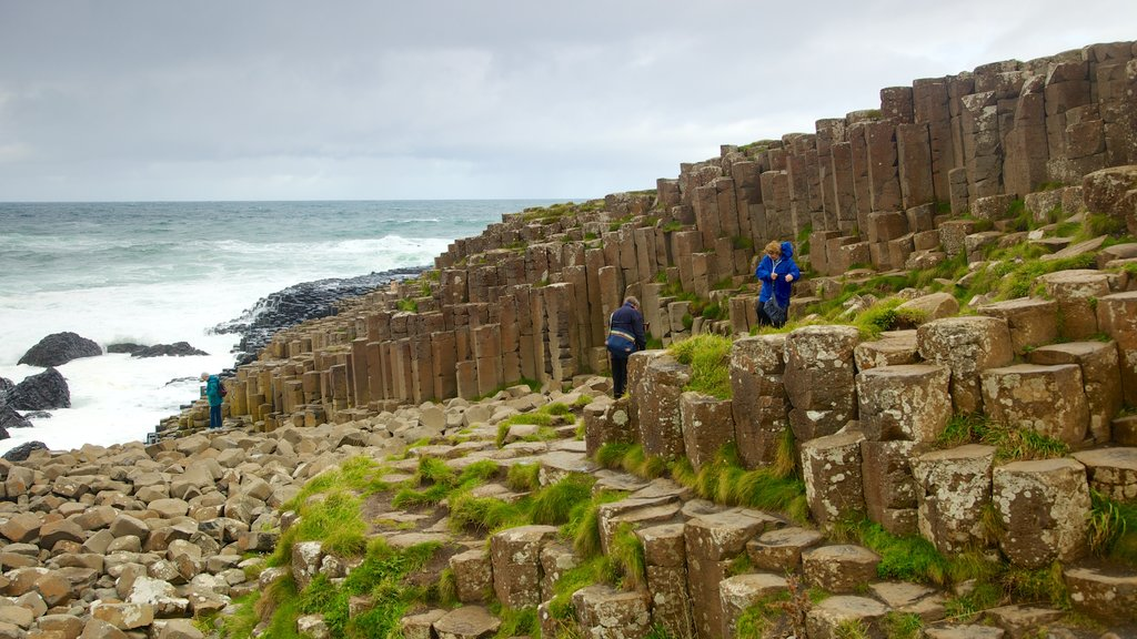 Giant\'s Causeway featuring hiking or walking and rugged coastline