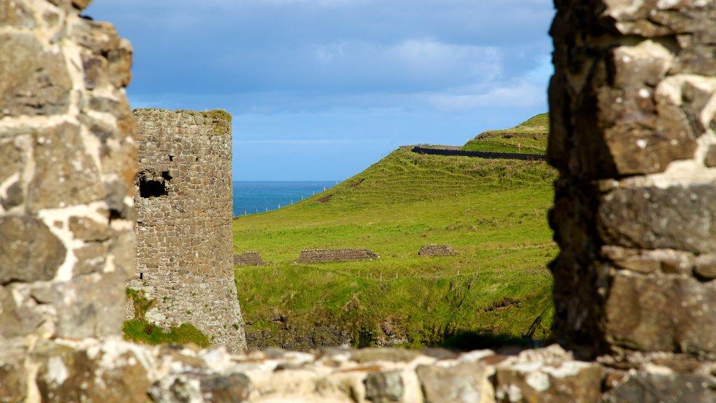 Dunluce Castle que incluye escenas tranquilas, ruinas de edificios y vistas