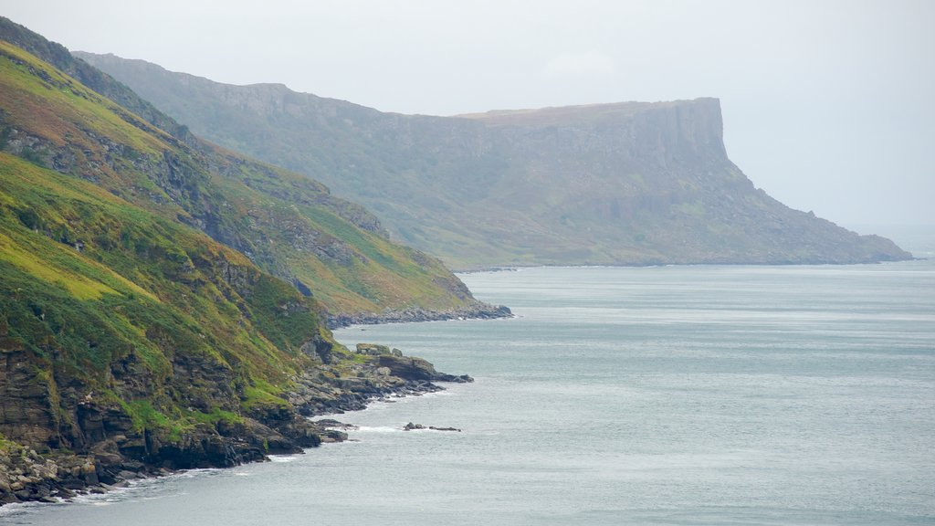 Torr Head featuring mist or fog, a gorge or canyon and rugged coastline