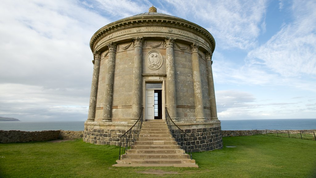 Mussenden Temple featuring a temple or place of worship and heritage elements