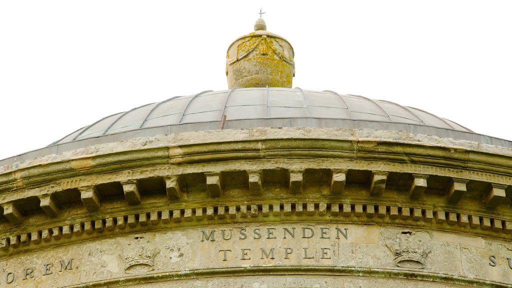 Mussenden Temple which includes a temple or place of worship, heritage elements and signage