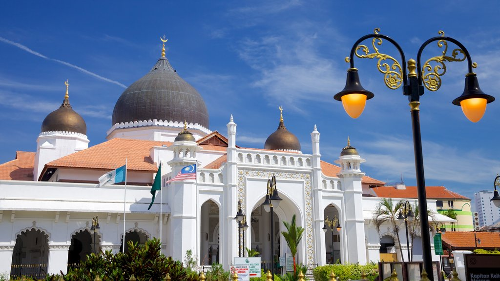 Kapitan Keling Mosque showing religious elements, heritage architecture and a mosque
