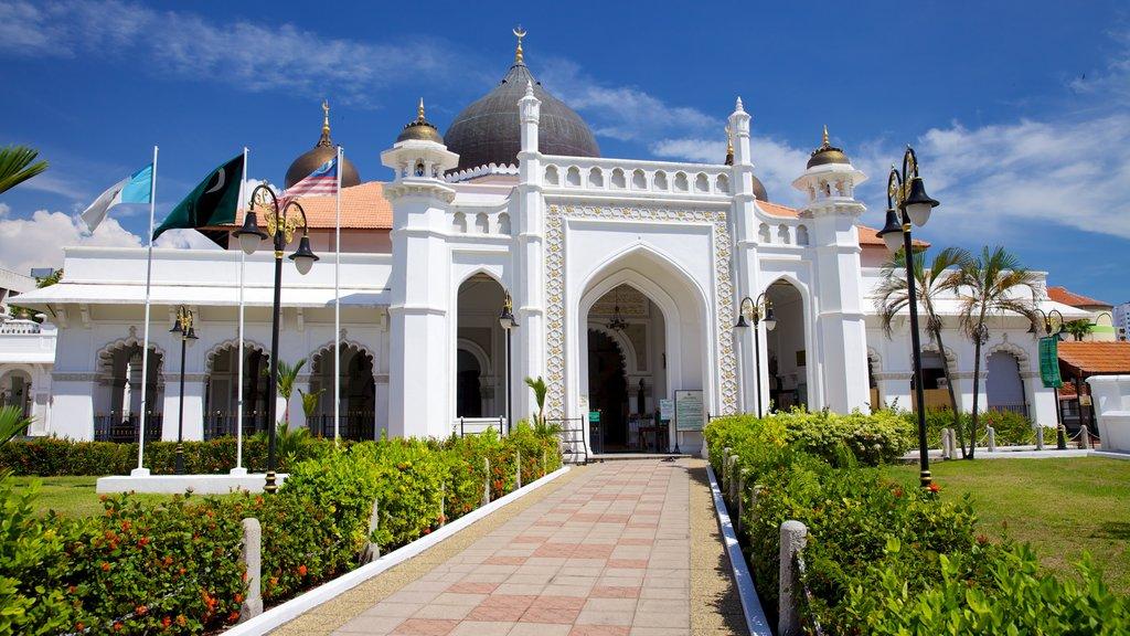 Mezquita Kapitan Keling mostrando elementos religiosos, patrimonio de arquitectura y una mezquita