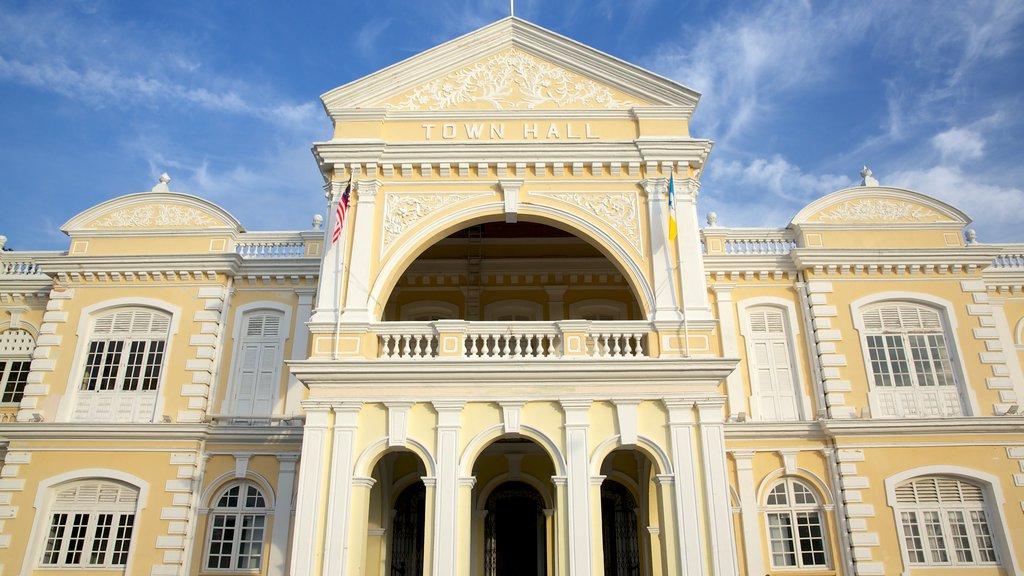 Ayuntamiento de Penang mostrando patrimonio de arquitectura y un edificio administrativo