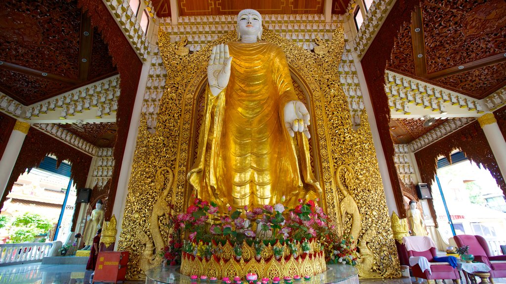 Dhammikarama Burmese Buddhist Temple which includes religious aspects, interior views and a temple or place of worship
