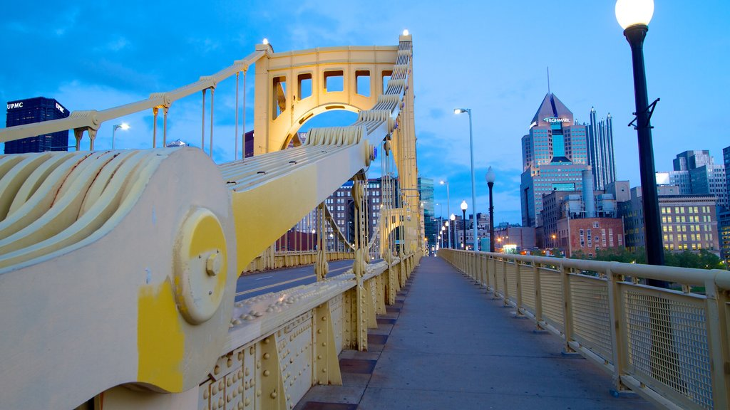 Roberto Clemente Bridge showing a city, night scenes and a bridge