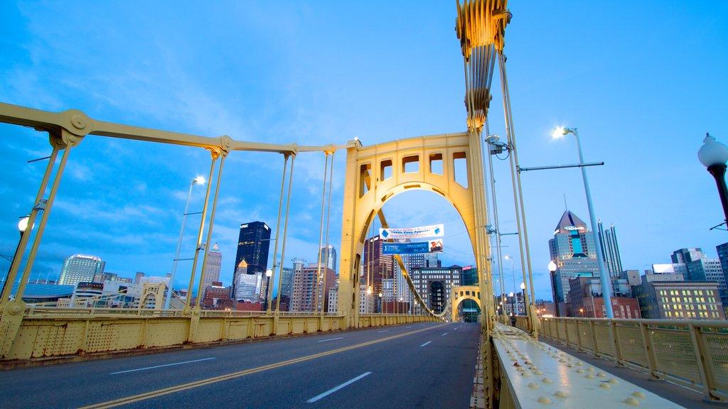Roberto Clemente Bridge showing a bridge, a city and skyline