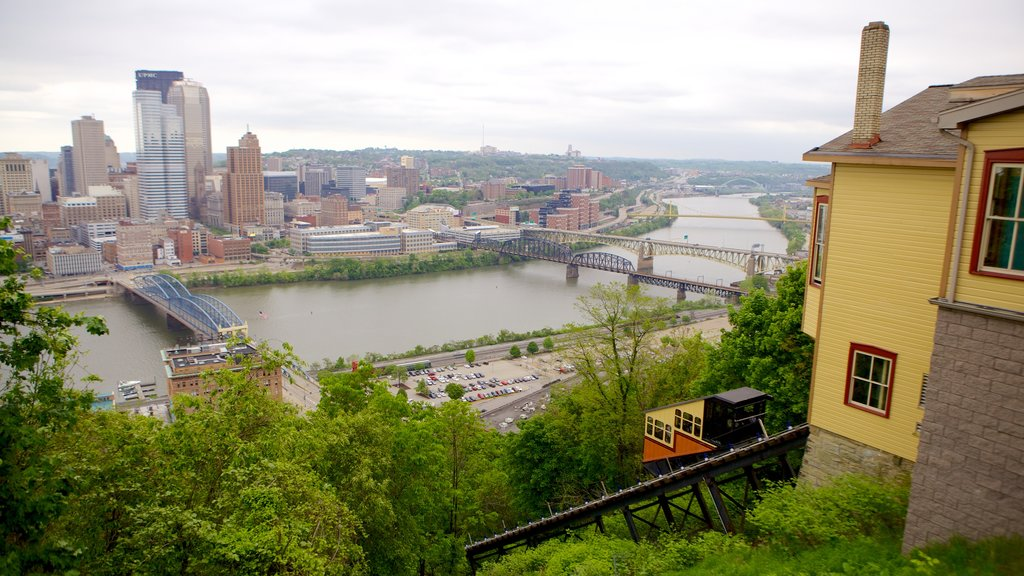 Monongahela Incline which includes a river or creek, a bridge and a city