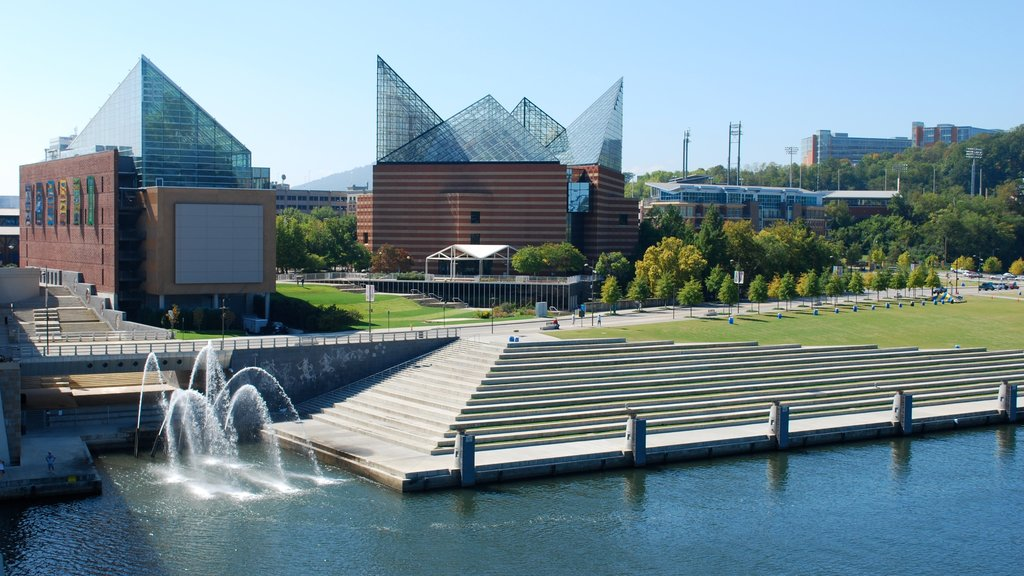 Chattanooga which includes modern architecture, a fountain and a river or creek