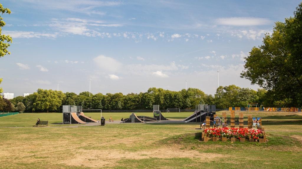 Holbeck mostrando flores y un parque