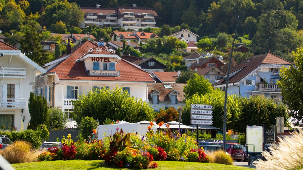 Annecy-le-Vieux which includes a small town or village, a garden and flowers