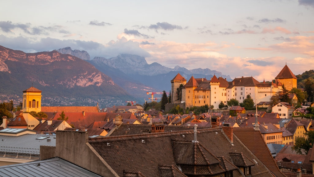 Annecy-le-Vieux which includes landscape views, a small town or village and a sunset