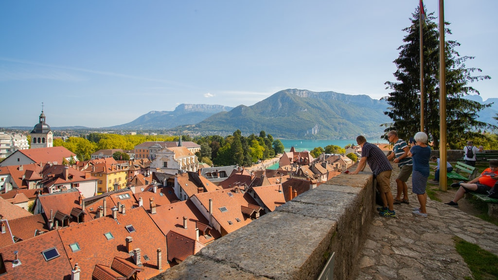 Annecy Castle showing landscape views, a small town or village and views
