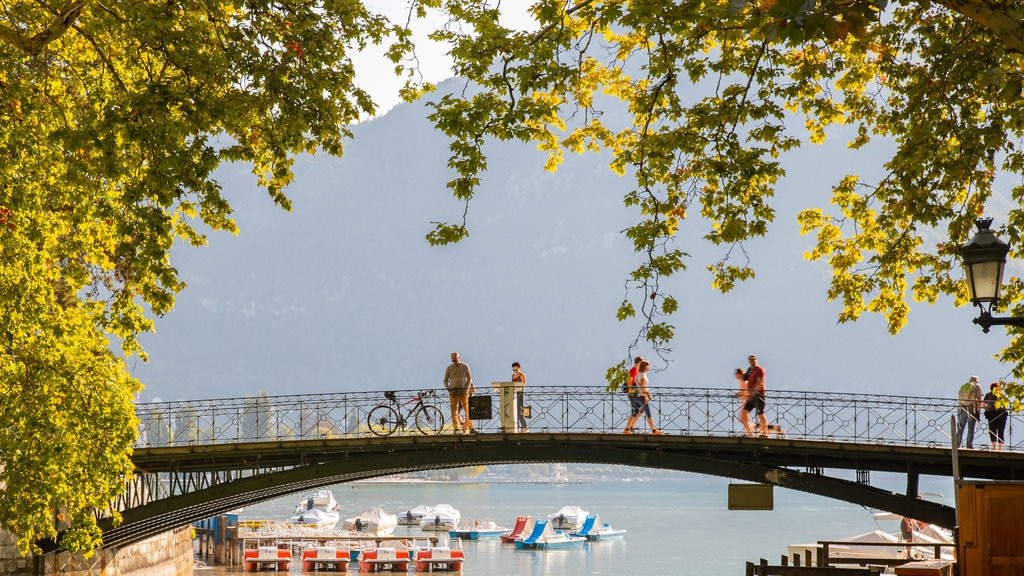 Amours Bridge featuring a bay or harbor and a bridge