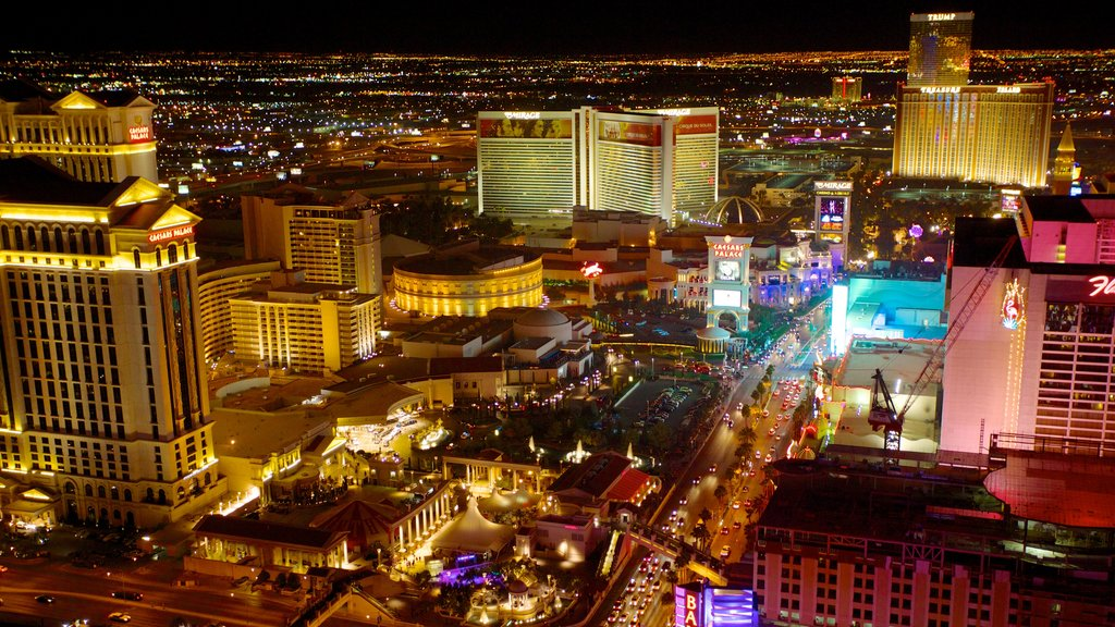 Las Vegas Strip which includes night scenes, a city and landscape views