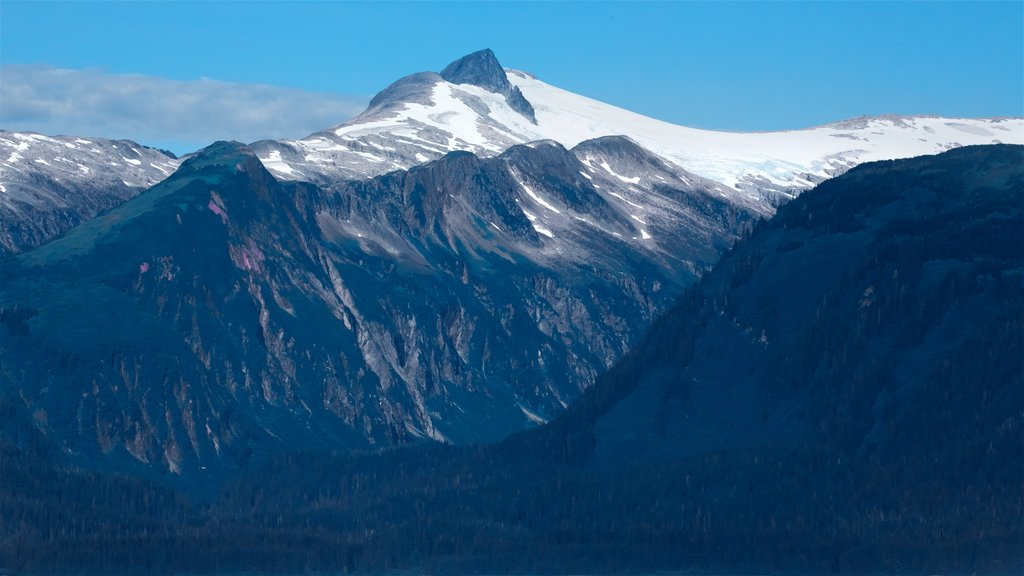 Funter Bay State Marine Park featuring snow, mountains and landscape views
