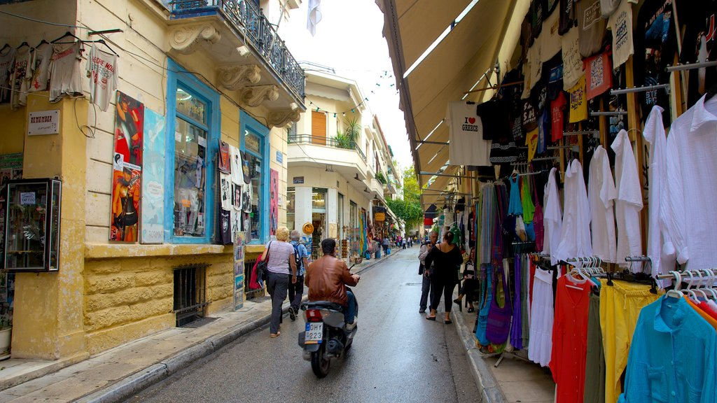 Athens featuring markets, street scenes and motorbike riding