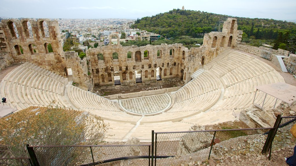 Acropolis showing a ruin, heritage architecture and theater scenes