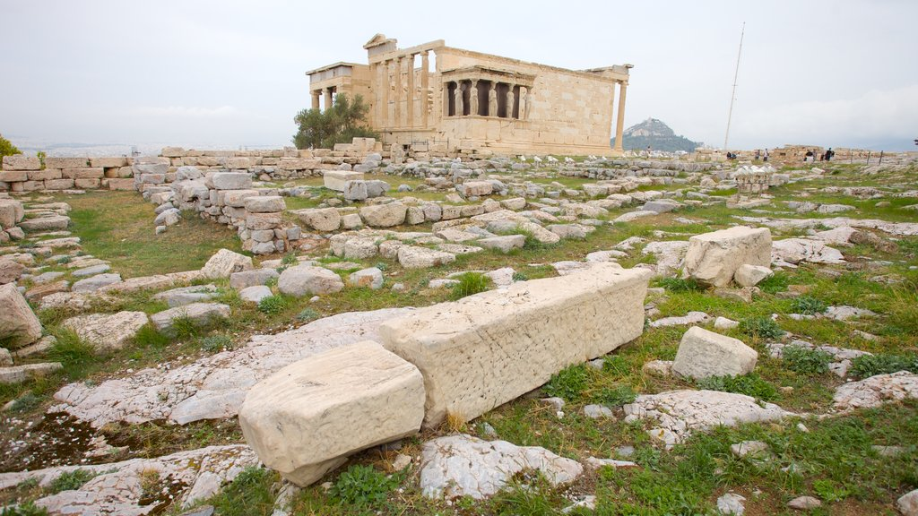 Acropolis which includes building ruins and heritage architecture