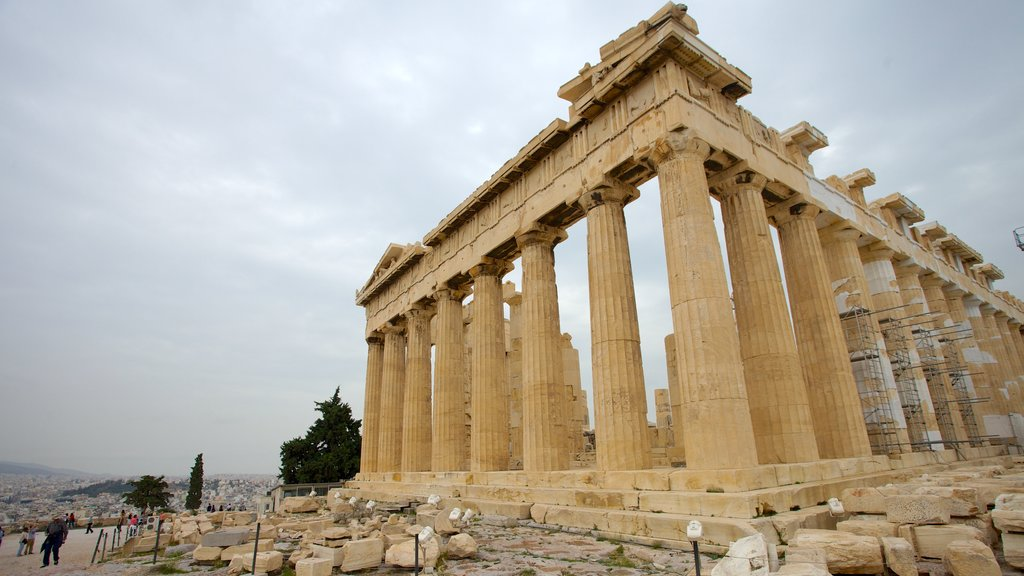 Acropolis showing heritage architecture and a ruin