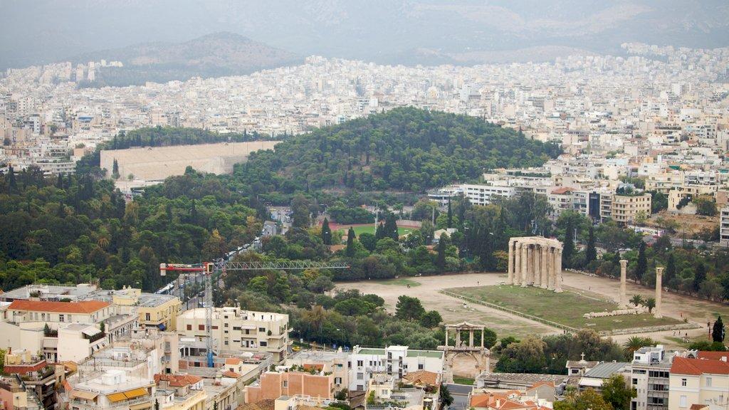 Acropolis showing landscape views and a city
