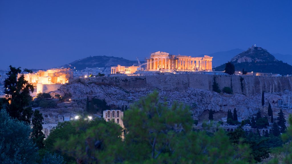 Acropolis showing heritage elements, building ruins and night scenes