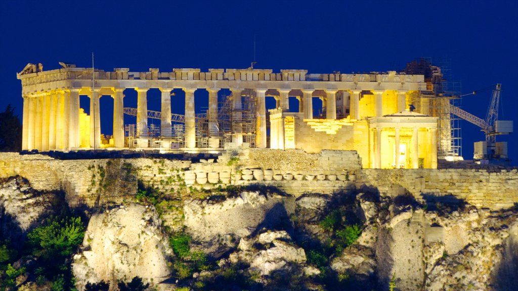 Acropolis which includes night scenes, a ruin and heritage architecture