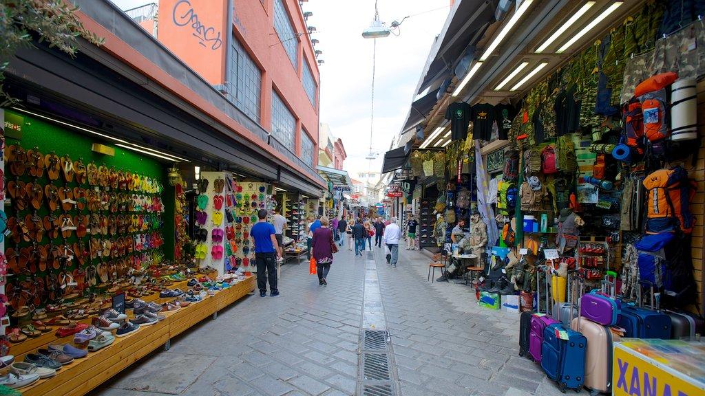 Monastiraki Flea Market featuring street scenes, a city and markets