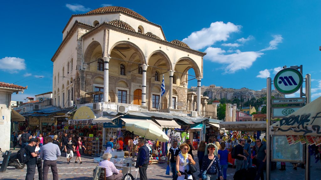 Monastiraki Flea Market showing street scenes, a city and markets