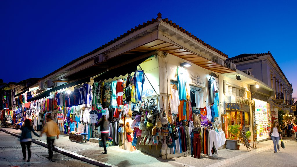 Monastiraki Flea Market featuring markets, shopping and night scenes