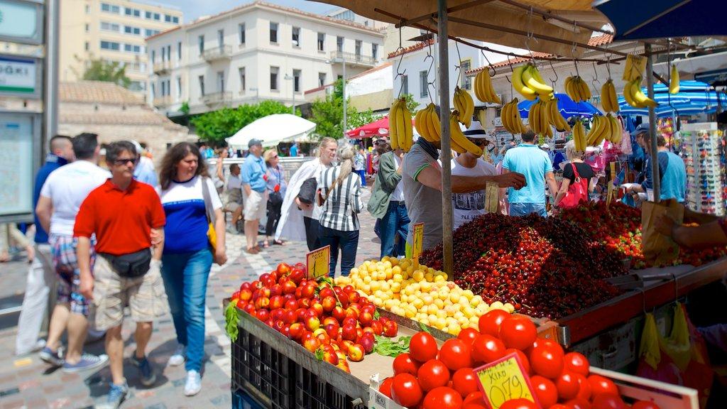 Monastiraki Flea Market featuring food, markets and street scenes