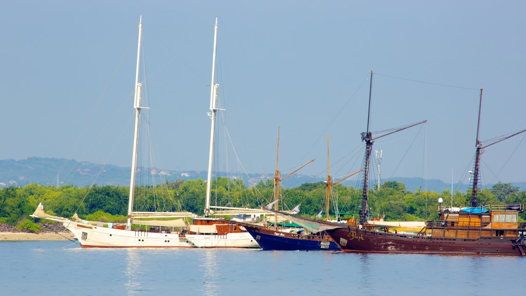 Sanur Beach showing boating, general coastal views and sailing