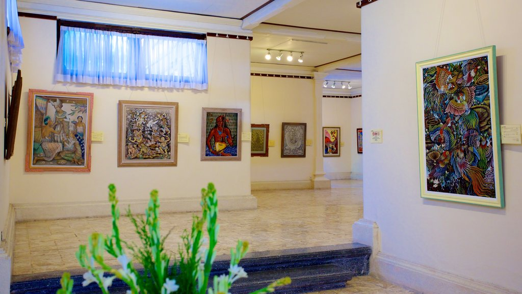 Agung Rai Museum of Art showing interior views and art